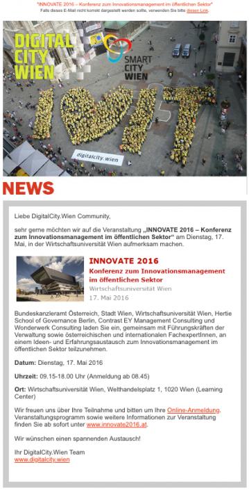 DIGITALCITY Wien Newsletter