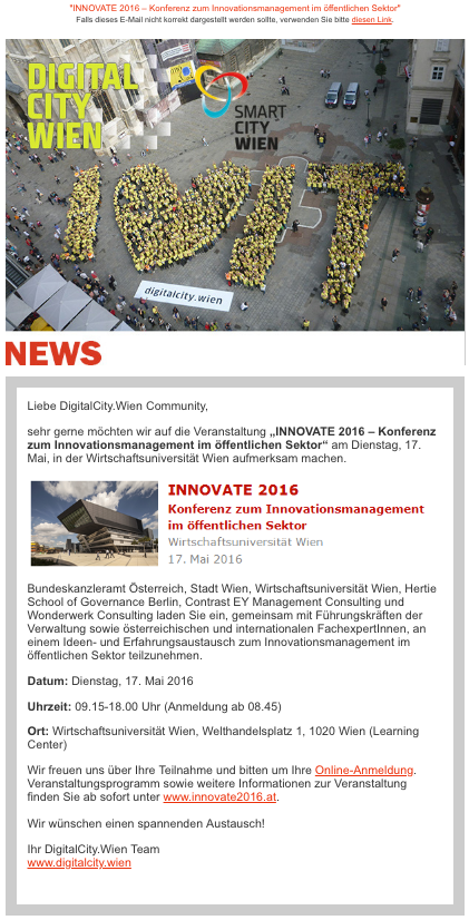 DIGITALCITY Wien Newsletter